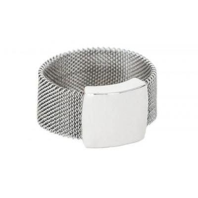 Pierścionek z siatki stalowej oraz srebra PSI002