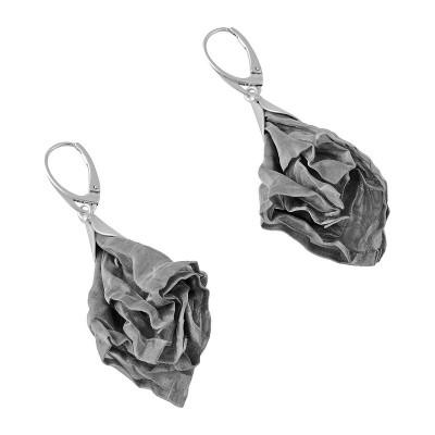 Kolczyki ze srebra oraz siatki stalowej KSS001